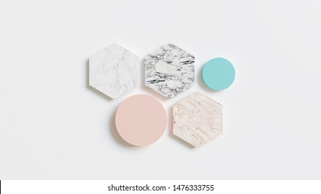 Abstract 3D Background - 3D rendered illustration with marble tiles and pastel colors