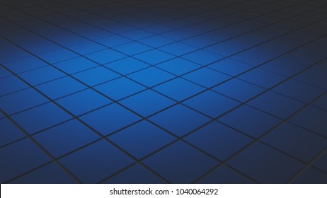 Abstract 3d background with tiles in blue soft light