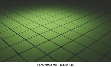 Abstract 3d background with tiles in soft green light
