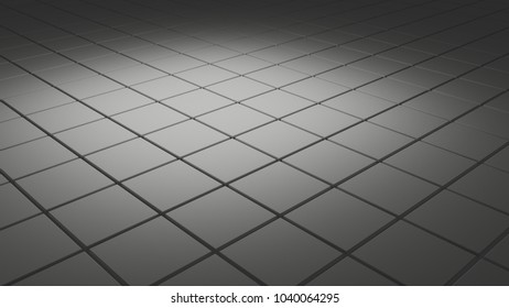 Abstract 3d background with tiles in soft gray light
