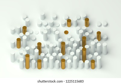 Abstract 3d background, with white and golden tubes on a white background.