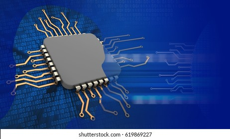 abstract 3d binary background with computer cpu and head silhouette