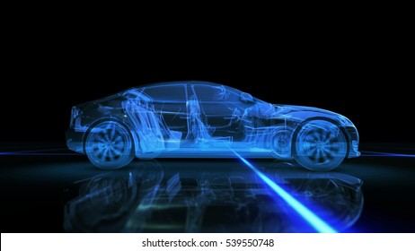 Abstract 3D Car blue on black background