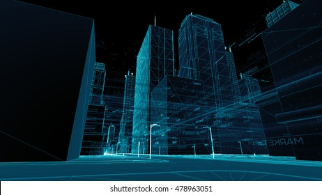 Abstract 3d city rendering with lines and digital elements. Digital skyscrappers with wire texture. Technology and connection concept. Perspective architecture background with wireframe skyscrapers.
