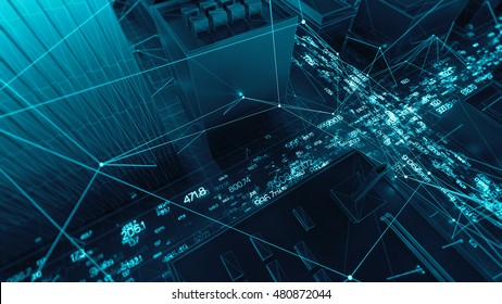 Abstract 3d city rendering with lines and digital elements. Skyscrappers with wireframe texture and random digits. Technology and connection concept. Perspective architecture background.