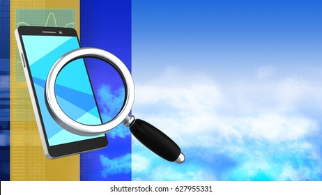 abstract 3d clouds background with phone and magnify glass
