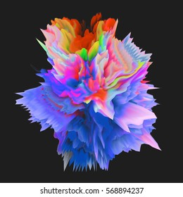 Abstract 3D colorful bomb in on black background. It can be used for web design and visualization of music.