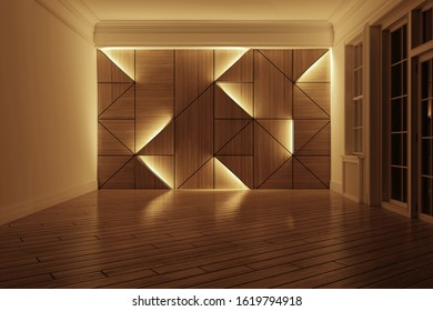 Abstract 3D concept. Geometric wood wall. Interior and decor idea. Modern and contemporary style. Laminate design background.
