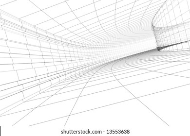Abstract 3D construction of tunnel. Concept - modern architecture.