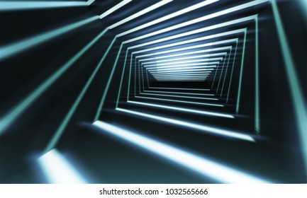 Abstract 3d corridor perspective background with linear light beams