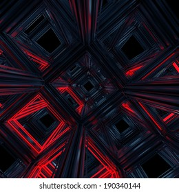 abstract 3d cube cell background, black and red