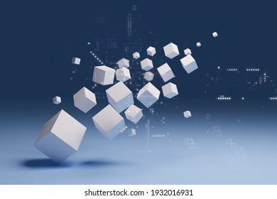 Abstract 3D cube, digital technology concept, 3D illustrations rendering