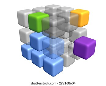 abstract 3D cube model
