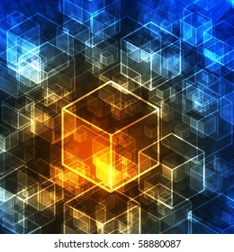 Abstract 3d cubes in technology style. Background.