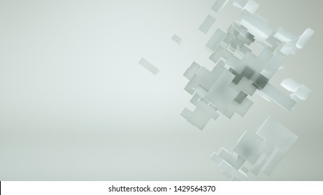 Abstract 3d cubes with white background-3D Render