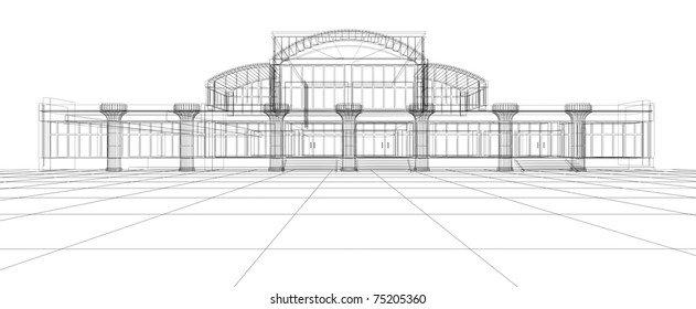 Abstract 3D design sketch of office building