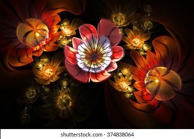 Abstract 3d flowers on black background. Creative fractal design in red, orange, yellow, white and faded violet colors.
