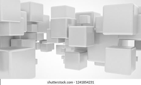 Abstract 3d flying metallic cubes isolated on white background