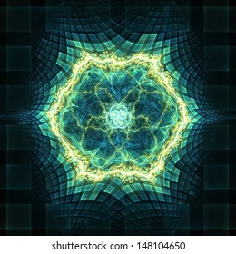 Abstract 3D fractal design evoking cyberspace, digital technology or nuclear energy