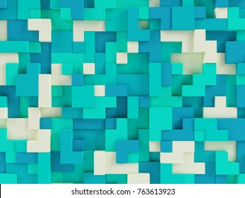 Abstract 3d geometric constructor colorful background - 3d illustration