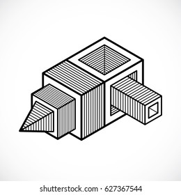 3 D Lineart Drawing Housebuilding Made Out Stock Vector Royalty