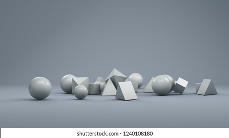 abstract 3d geometry in a bright white room. 3d rendering. minimal design, motion graphics style.
