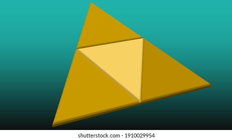 An abstract 3d golden triangle shape background image.