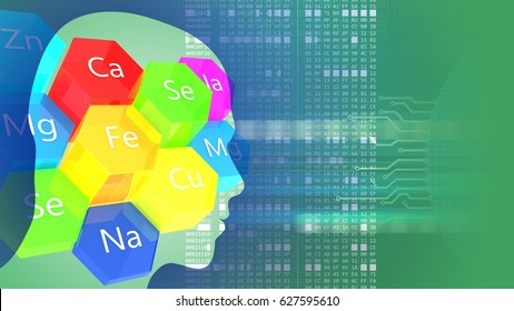 abstract 3d gree background with microelements head silhouette and hexadecimal code