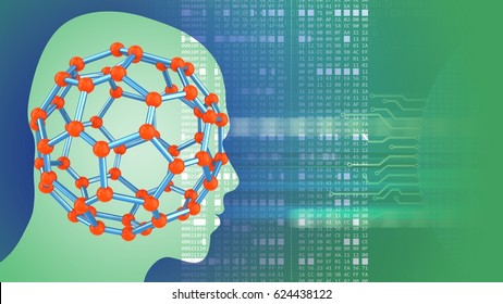 abstract 3d gree background with molecular structure head silhouette and hexadecimal code