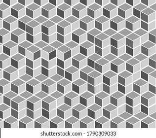 Abstract 3d grey square with white border background. metallic cube grid texture. 3d render, geometric background, grey constructor, logic game, cubic mosaic structure, isometric wallpaper, cubes, ad