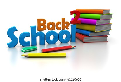 abstract 3d illustration of 'back to school' sign with books and pencils