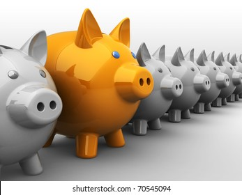 abstract 3d illustration of best piggy bank choice metaphor
