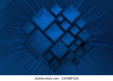 Abstract 3d illustration of blue boxes background, technological theme.