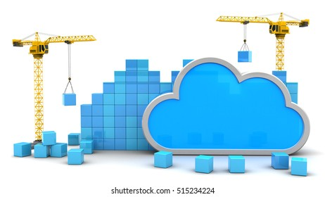 abstract 3d illustration of cloud storage development