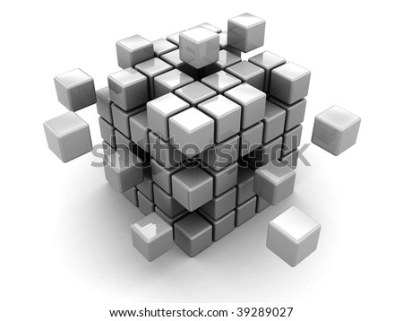 abstract 3 d illustration cube assembling blocks stock illustration