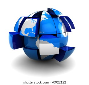 abstract 3d illustration of earth globe built from blocks