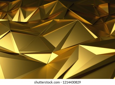 Abstract 3d illustration gold polygonal, Low poly shape for design.