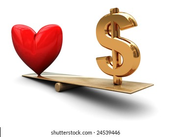 abstract 3d illustration of heart and dollar sign on board scale