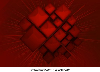 Abstract 3d illustration of red boxes background, technological theme.