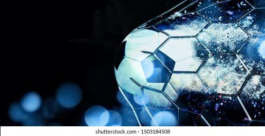 Abstract 3D illustration soccer ball breaking through the goal net