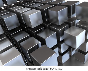 abstract 3d illustration of steel cubes background