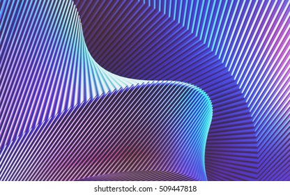 Abstract 3D illustration, twisted structure and folded into colors and shadows.
