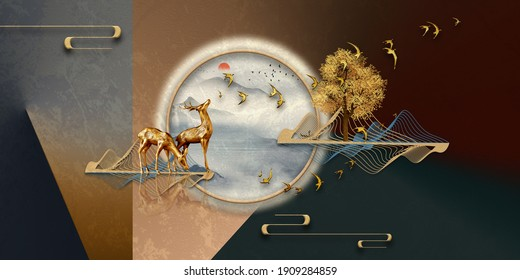 Abstract 3d illustration for wallpaper, mountain and golden deer with flock of birds. wallpaper for modern decoration