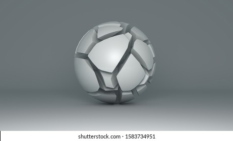 Abstract 3D illustration of a white ball isolated on a white background with a shadow on a white surface. The ball is destroyed and has many correct cracks. Abstraction, 3D rendering