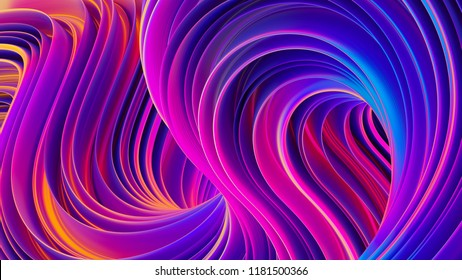 Abstract 3D liquid background. Fluid design backdrop. Trendy composition in modern ultra violet holographic colors. Bright vibrant twisted shapes in motion. 3D rendering.