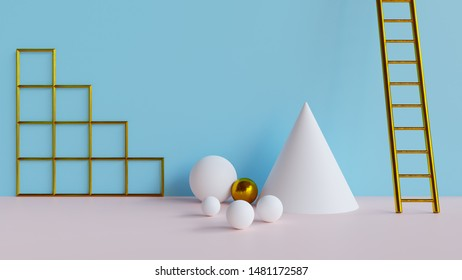 Abstract 3d minimal background - Abstract 3d rendered background with geometric shapes