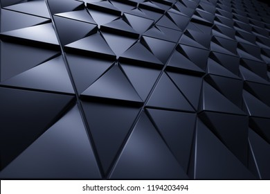 Abstract 3D minimalistic geometrical background of blue triangles
