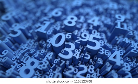 Abstract 3D numbers background. Computer science design. Algebra, mathematics, school symbols. Infinity data. Numeral wallpaper. Calculation and statistics. Three dimensional rendering. Blue color
