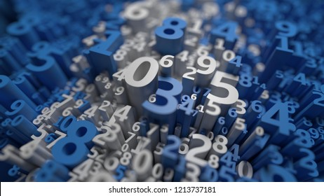 Abstract 3D numbers background. Computer science design. Algebra, mathematics, school symbols. Infinity data. Numeral wallpaper. Calculation and statistics. Three dimensional rendering. White, blue