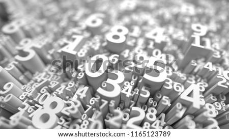 Abstract 3D Numbers Background Computer Science Design Algebra Mathematics School Symbols